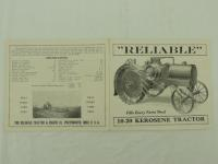 Reliable 10-20 Kerosene Tractor foldout Brochure