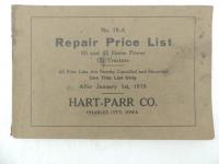 Hart-Parr No. 18-A Repair Price List 1918