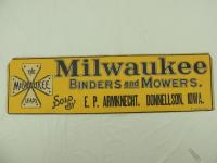 Milwaukee Binders and Mowers Cardboard Sign