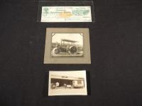 Lot of 3, Steam Engine Road Machine Photo, McCormick Photo, 1877 McCormick Check