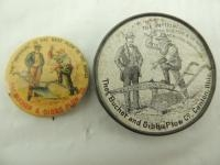 The Bucher and Gibbs Plow Co. Pocket Mirror, and Celluloid Pinback