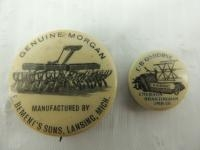 2 - Celluloid Implement Pinbacks - Emerson Brantingham, E. Bement's Sons