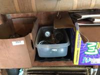 Bread box, cheese crocks, utensils and cook books