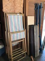 Adjustable camp chairs, 2 louvre doors, bed frame and miscellaneous