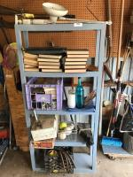 Plastic shelving unit with contents
