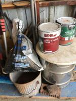 Shovels, rakes, paint, rock salt, RV brushes, etc