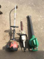 One electric leaf blower, one electric hedge trim, and one gas weed eater