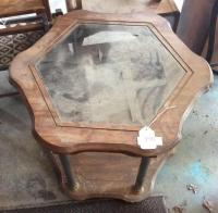 Six sided partial glass top end table