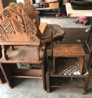 Magazine rack, book table and 2 stools