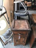 Small wood cabinet, metal plant stand and metal foot stand