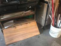 Reworked dresser base; storage cabinet; wood projects & misc