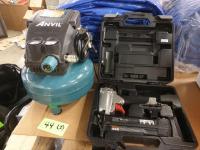 (1) Anvil Compressor, (1) Porter Cable Brad Nailer BN200