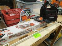 Johnson #1610-4800 4' level; StarMax Tile Cutter, Box of milk crates, Husky Tool pouch with misc