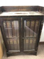 "Wooden bookcase 23"" x 11"" x 36"", the encyclopedia Britannica series"