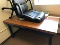 "Office table 62"" x 36"", includes rolling office chair"