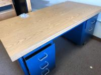 "Teachers desk, 62"" x 32"" with rolling office chair"
