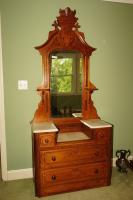 ANTIQUE MARBLE TOP CHERRY DRESSER WITH MIRROR - USBR3