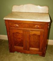 ANTIQUE MARBLE TOP CHERRY WASHSTAND - USBR4