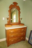 ANTIQUE MARBLE TOP CHERRY DRESSER WITH TILTING MIRROR - USBR4