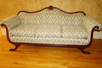 ANTIQUE BRASS TOE SOFA WITH EXCELLENT UPHOLSTERY - FOY