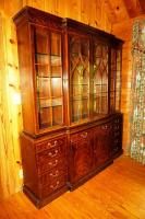 LARGE HENREDON TWO-PIECE CHINA CABINET WITH PULL OUT SECRETARY DRAWER - GRT