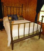 ANTIQUE BED WITH BRASS HEADBOARD AND FOOTBOARD - USBR1