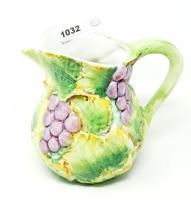 HAND DECORATED GLAZED POTTERY PITCHER, MADE IN ITALY - GRT