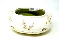 VINTAGE HAND PAINTED AND SIGNED DOUBLE HANDLE PORCELAIN PLANTER - GRT