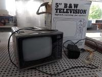 "Vintage 5"" Black & White Portable TV"