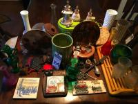 (35) Kitchen Decor and Collector Items, (10) Vases, (2) KNOWLES NORMAN ROCKWELL Plates in Original Box, Prayer Jelly Spoon Caddy and Toothpick & More