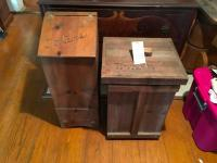 Two (2) Pcs., Farmhouse Rustic Taters and Trash Containers