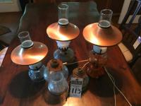Three (3) Oil Copper Shade Lanterns, Two (2) Electrified Oil Lanterns Missing Shades