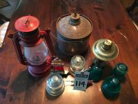 (10) Pcs., (5)Insulators,(2)Boat&Lighthouse Stained Glass, (1)AMERICAN CAMPER Red Lantern, (1)PERFECTION Stove Co.Lantern &(1)Mini Oil Lantern