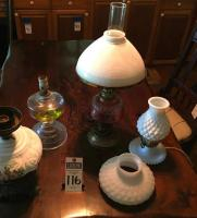 (4) Electrified Oil Lamps, (1) Milk White Hobnail Lamp, (1) Lamp White Glass Shade, (1) Gone with the Wind Bottom Only, & (1) Lantern Bottom Only