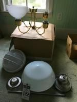 (3) Lighting Fixtures, (1) NIB 4 Arm Brass Chandelier, (1) NIB HUNTER Ceiling Fan Light Kit, (1) NIB HAMPTON BAY School House Tri-Light