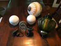 (3) Lighting Fixtures; (1) Two-Light Wall Sconce w/Globes, (1) Gone with the Wind Style Globe Pendant & (1) Mid Century Modern Green Globe Pendant