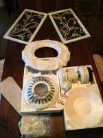 (2) Rose Metal Wall Art Panel, (1) Victorian Style Ceiling Medallion, (1) NIB HUNTER Ceiling Fan