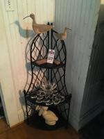 (5) D�cor Pcs., (1) Foldable Corner Shelf Black Wrought Iron Style, (2) Shore Birds, (1) Flower Candle Holder, & (1) Ceramic Ivory Pelican