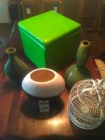 (5) D�cor Pcs., (1) Decorative Bird Cage, (1) Lime Green Cube Ottoman, (1)Paisley Green Vase, (1) Gourd Shape Green Vase, & (1)Brown&White Oblong Vase