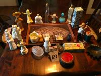 Twenty-Nine (29) Pcs., Vanity Tray, AVON Cologne, Bath Oils, and Soaps, Soap Dish, Antique MCNESS Tin, Mini Oil Lamp, & Shaving Mug and Soaps