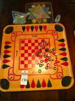 Vintage CARROM Wooden Game Board over 100 Games Can be Played on Board, Vintage Hop Ching Chinese Checkerboard and Noisemaker