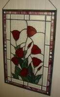 Stained Glass Tulip Wall Hanger Panel 21 Inches by 31.25 Inches