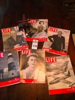 "(7) Vintage Pcs., (1) Stereo Scope The ""SATURN"" Scope, (6) LIFE Magazines, Queen Elizabeth, President Eisenhower, F-84 Thunderjets, & Lighthouse"