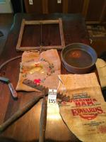 Six (6) Rustic Farmhouse Tools and D�cor, (2) Small Burlap Bags, (1) Grain Sifter, (1) Frame Saw, (1) Sickle, & (1) Hedge Shears