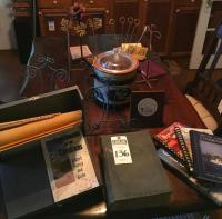(16) Pcs. D�cor and Books, Metal File Folder Box, Crock Pot, 3 Table Easels, 2 Picture Trees, Hymn Boos, Book of Ruth, A few Cookbooks & More
