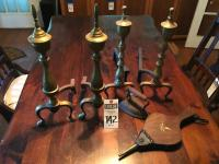 Four (4) Fireplace Items; (1) Brass Andirons, (1) Andirons, (1) American Eagle Bellows made in Japan, and (1) Antique #6 Hand Iron