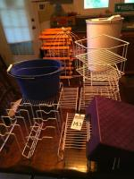 Twenty-Five (25) Helper Shelf Pieces, (1) Purple Foot Stool, (1) Wooden 12 Bottle Wine Rack, (1) Bird Cage D�cor Piece, (1) Oval Pail & (1) Trash Can