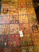 One (1) Area Rug Floral Tile Patchwork Style Warm Colors A Few Dark Stains