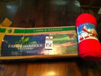 Lounging at its Best One (1) NIB WILSON & FISHER Fabric Hammock w/Canopy, & (1) Red Terry Cloth Lounge Chair Cover