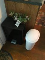 Three (3) Pcs., One (1) Black Trash Can Step Lid, One (1) White Plastic Trash Can, & One (1) 30 Inch Faux Succulent Wreath